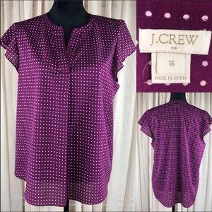 J Crew purple polka dot blouse.